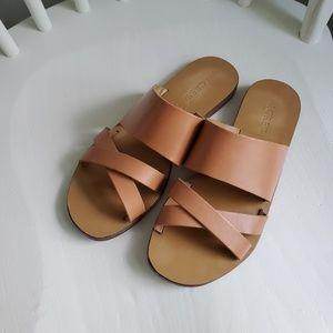 J. Crew brown leather flat slide on sandals 6